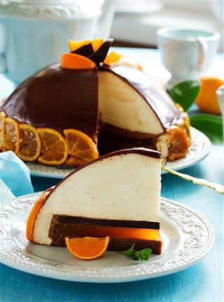 Orange Cake With White Chocolate Mousse