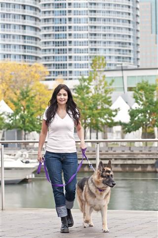 Woman Walking With Her German Shepherd