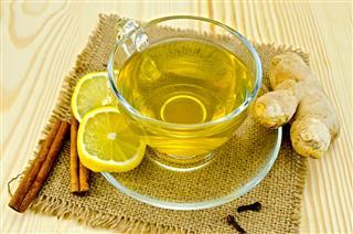 Ginger Tea On A Burlap Napkin