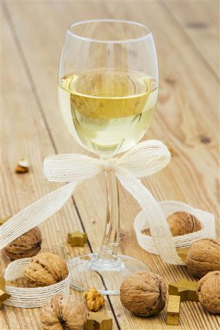 White Wine And Christmas Arrangement