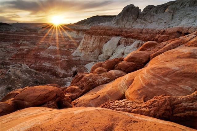 : Sunset Landscape At Paria Rimrocks