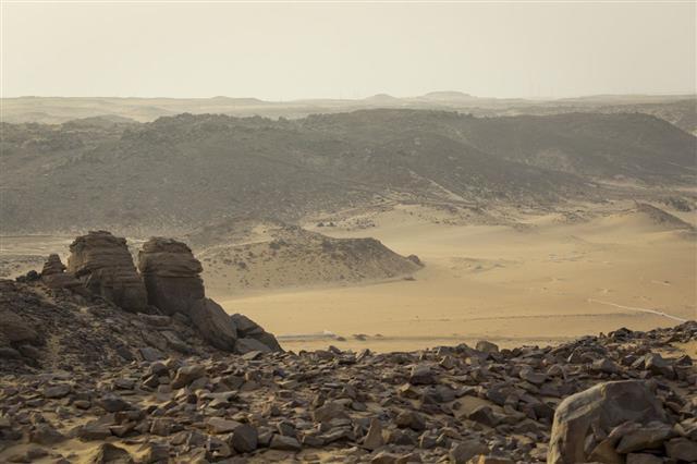 Sand Dune Landscape Near Aswan Egypt