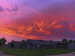 Vivid Mammatus Clouds At Sunset