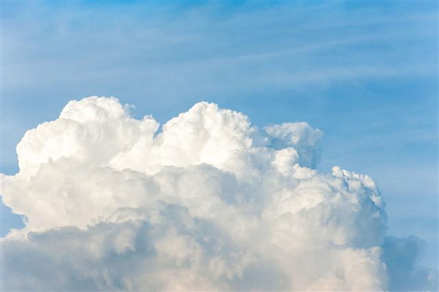 White Cumulus Congestus Clouds