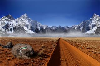 Himalaya Mountain With Climbing Direction Arrow