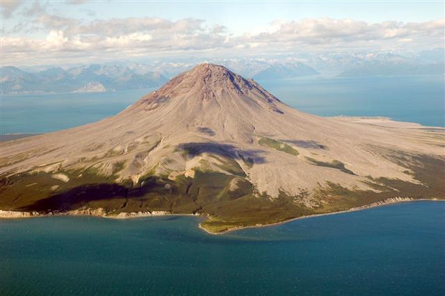 Aerial View Volcano Alaska Usa