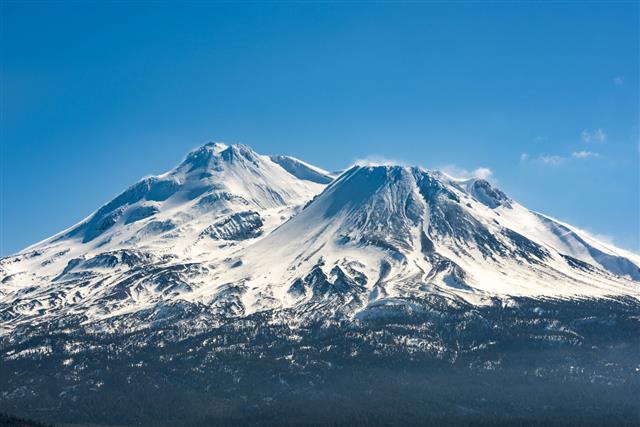 Snowcapped Mount Shasta Volcano