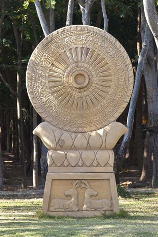 Sandstone Dharmachakra Statue