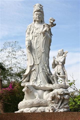 White Marble Quan Yin Statue