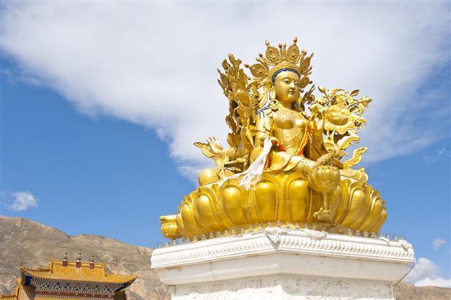 Golden Kwan Yin Statue