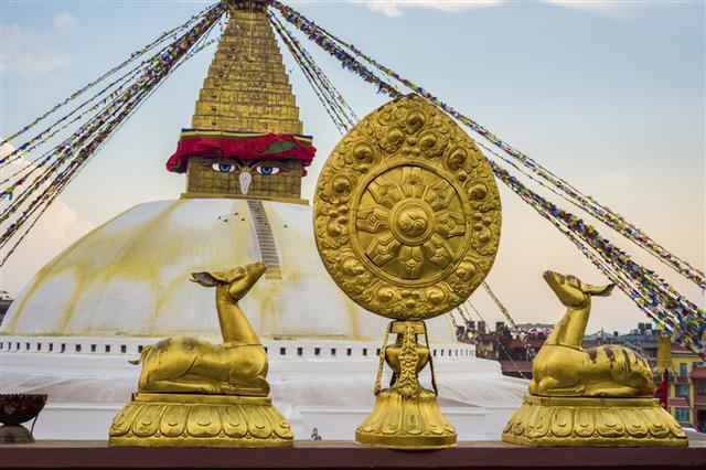 Boudhanath Stupa And Dharma Wheel