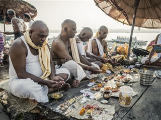 Hindu Pilgrims Doing Religious Puja