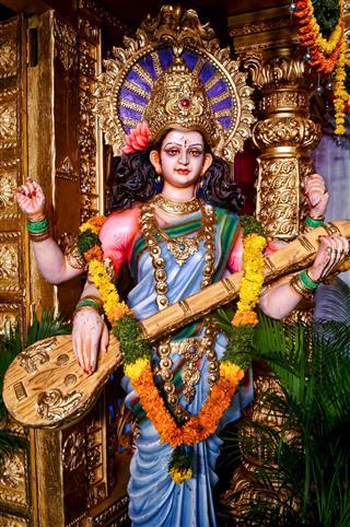 Indian Goddess Saraswati Playing The Veena