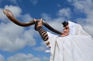 Jewish Man Blow Shofar