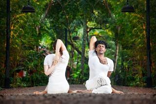 Couple Yoga Gomukhasana Cow Pose