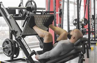 Athlete Doing Leg Day Routine At Gym