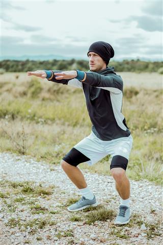 Sportsman Exercising Outdoors