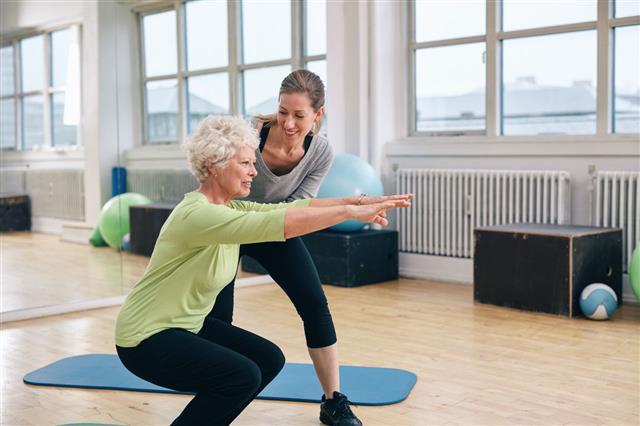 Elderly Woman Doing Exercise