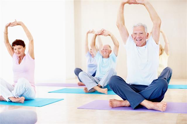Seniors Doing Yoga Pose
