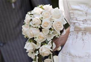 Bridal white rose bouquet