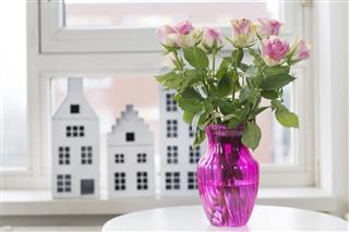 Roses In Vase In Interior