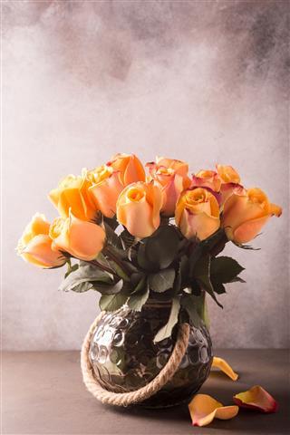 Beautiful Yellow Roses In Vase