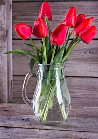 Red Fresh Tulip Bouquet