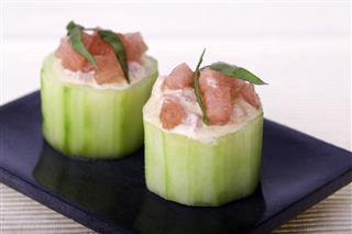 Cucumber Stuffed With Watermelon