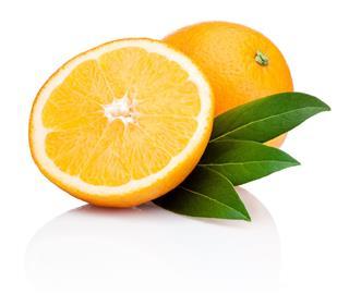 Sliced Orange Fruit With Leaves