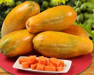 Fresh Cut Juicy Tropical Papaya