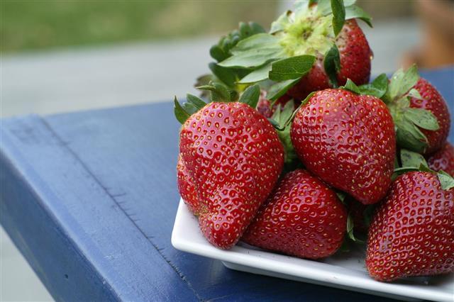 Fresh Strawberries On Table