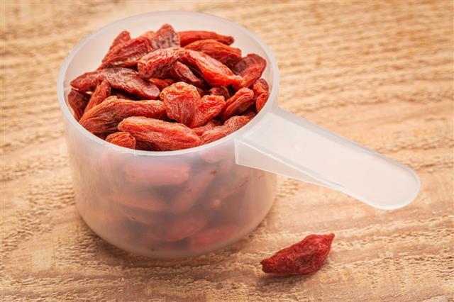 Goji Berries In Measuring Scoop