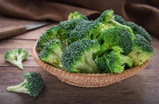 Fresh broccoli in basket