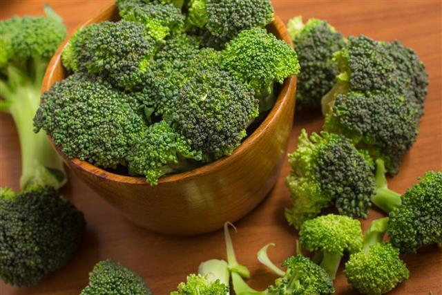 Broccoli into a bowl