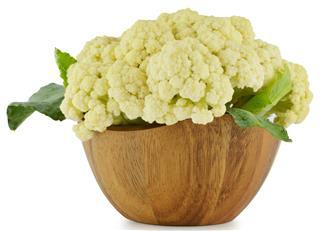 Cauliflower in wooden bowl