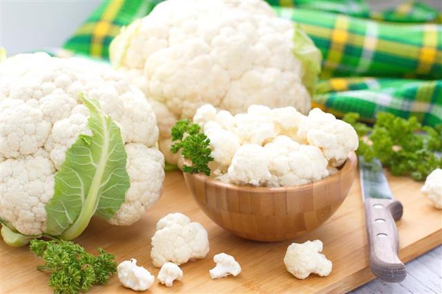 Fresh Cauliflower prepared for cooking