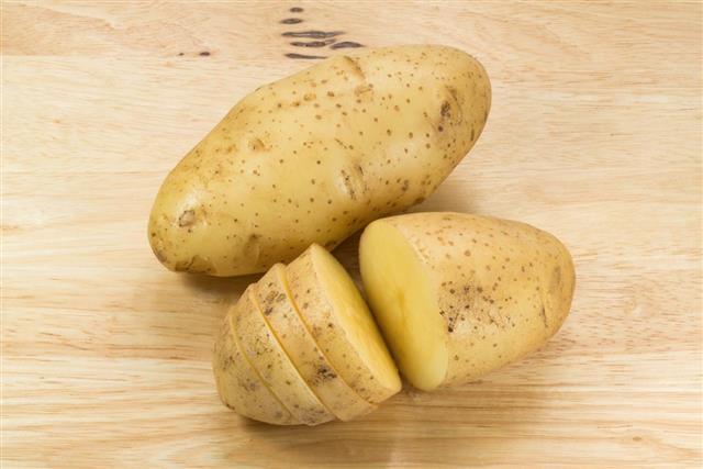 Closeup of fresh potatoes