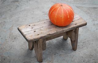 Pumpkin on bench