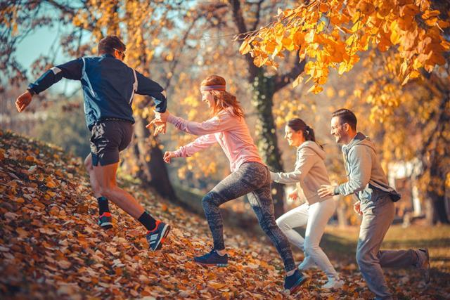 Jogging In Autumn Fall