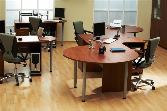 Empty Office With Desks And Floor