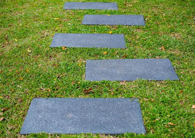 Stone Walk Way On Grass