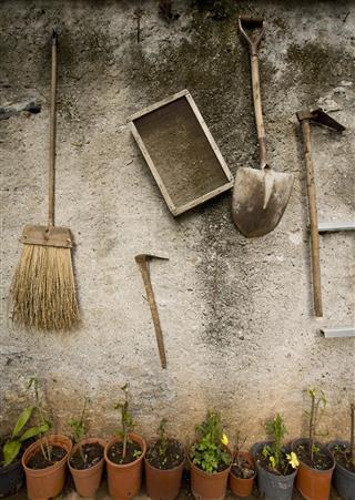 Gardening equipment on wall