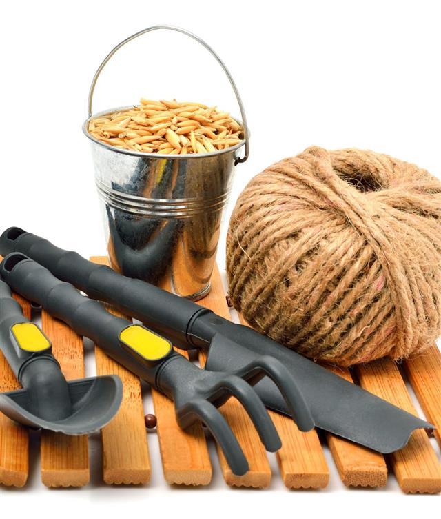 garden tools with grain