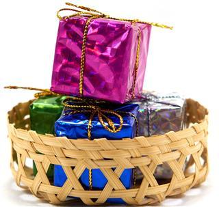 Gift box in basket