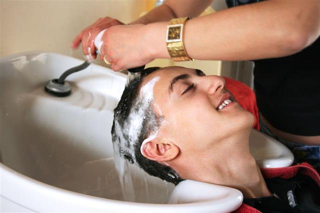 Hairdresser Washing Client Hair
