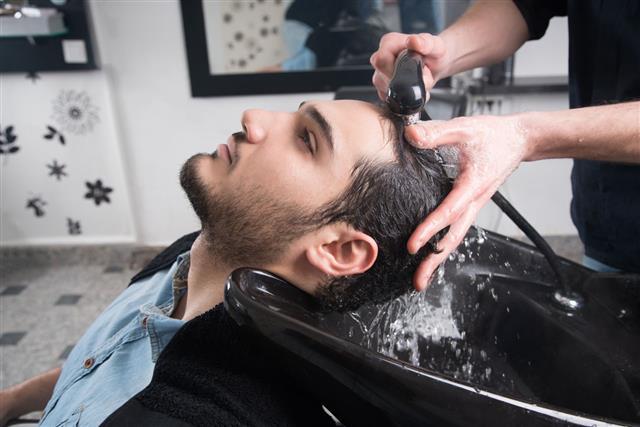 Man Washing His Hair