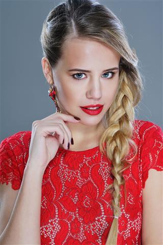 Woman Beauty Portrait In Red