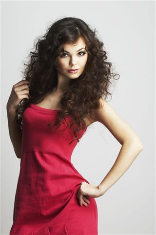 Brunette Girl In Red Dress