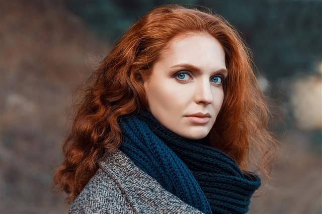 Closeup Portrait Of Redhead Girl