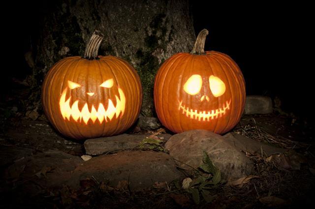 Spooky Jack O Lanterns Outdoors
